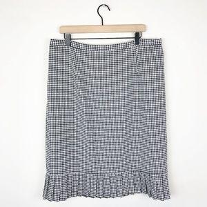 Vintage Gingham Pleated Pencil Skirt